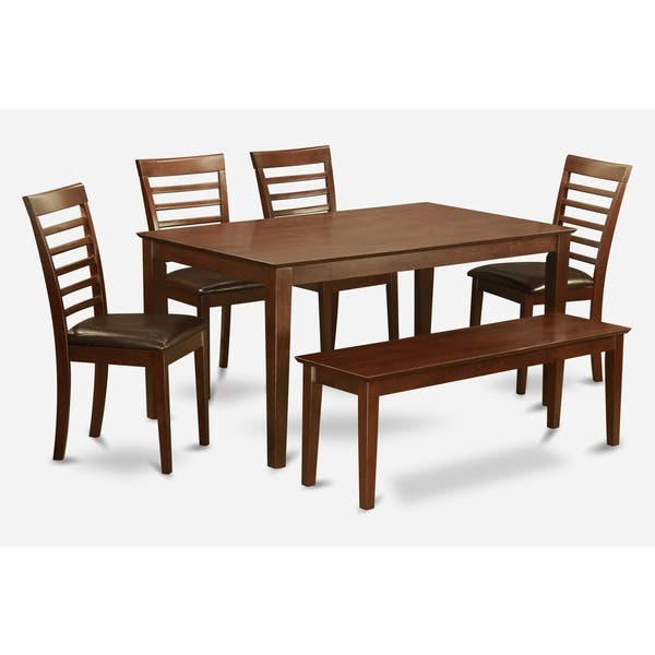 Wondrous Mahogany Finish Rubberwood 5 Piece Dining Room Table With Dining Bench Set Onthecornerstone Fun Painted Chair Ideas Images Onthecornerstoneorg