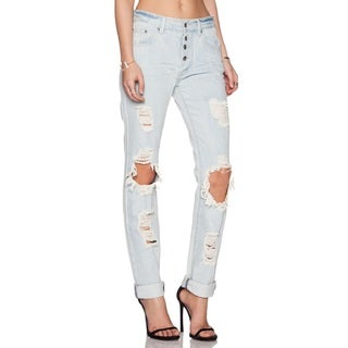 Somedays Lovin Women's Moku Blue Cotton Rigid Ripped Distressed Jeans