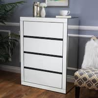 Lada Hardwood 3-drawer Mirrored Cabinet by Christopher Knight Home
