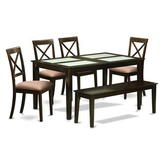Black-finished Wood 6-piece Dining Room Glass-top Table with Bench