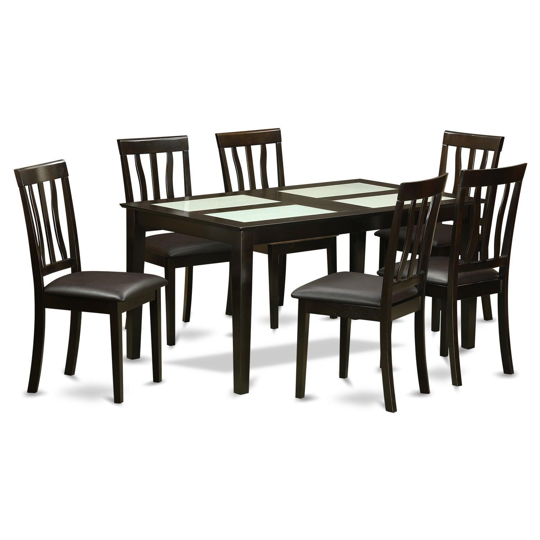 Black Rubberwood 7-piece Dining Table Set (Faux Leather),...