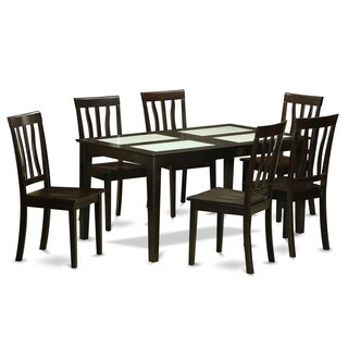 Black Rubberwood 7-piece Dining Table Set