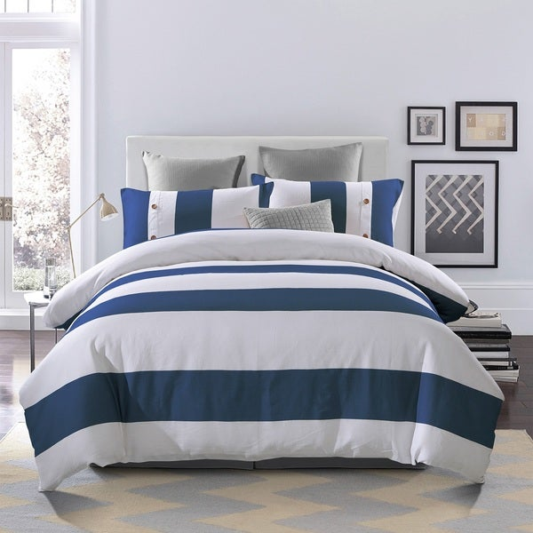 Superior Addison 300 Thread Count Embroidered Cotton Duvet Cover Set