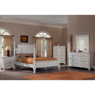 Laveno 012 White Wood Bedroom Furniture Set, Includes Queen Poster Bed, Dresser, Mirror and 2 Night Stands