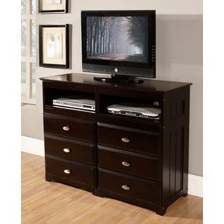Espresso-finished Pine Wood 6-drawer Entertainment Dresser