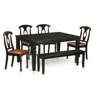 Black Rubberwood 6-piece Dining Set