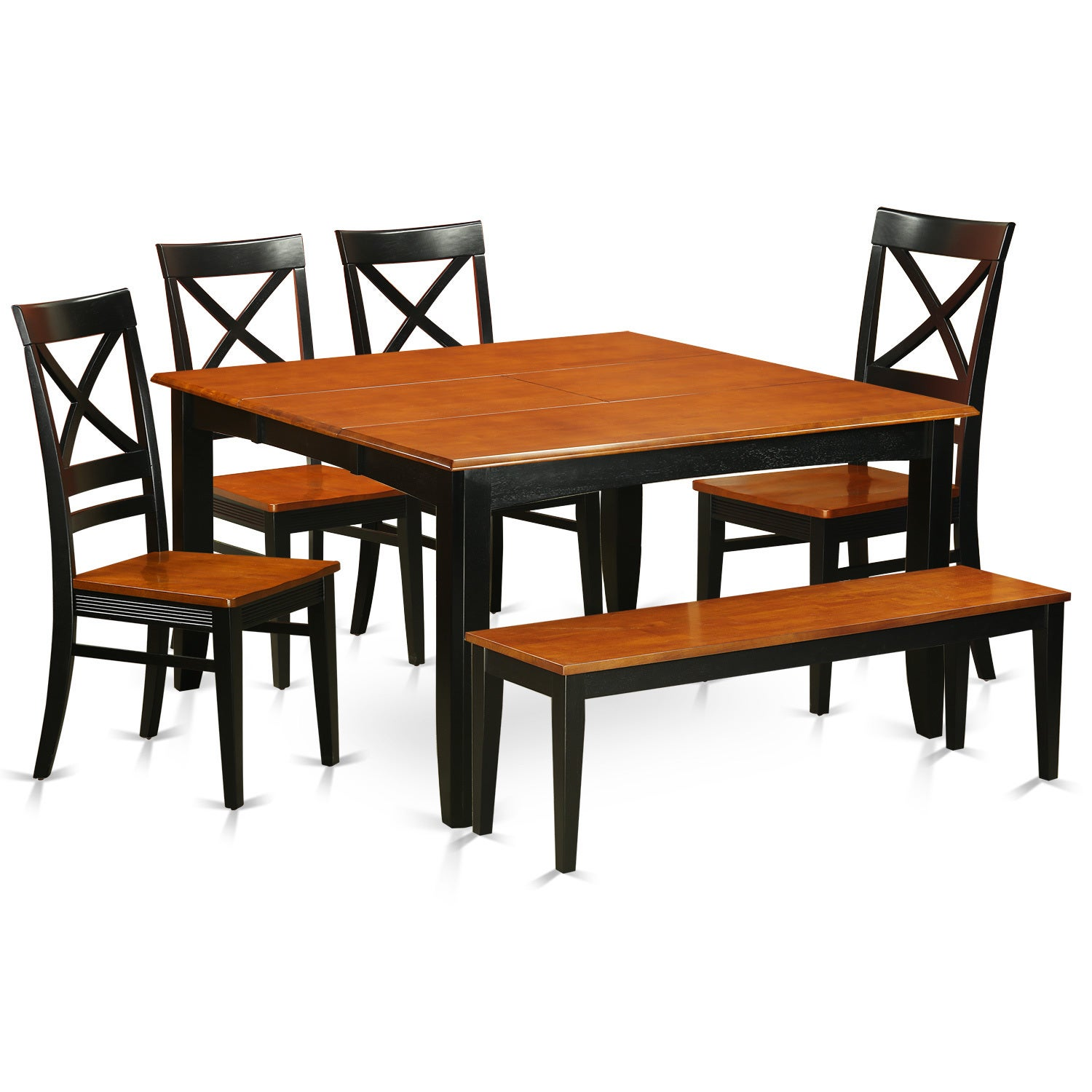 Black-finished Rubberwood 6-piece Dining Room Set with Di...
