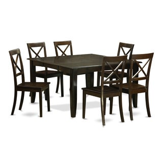 Black-finished Wood 7-piece Dining Table Set