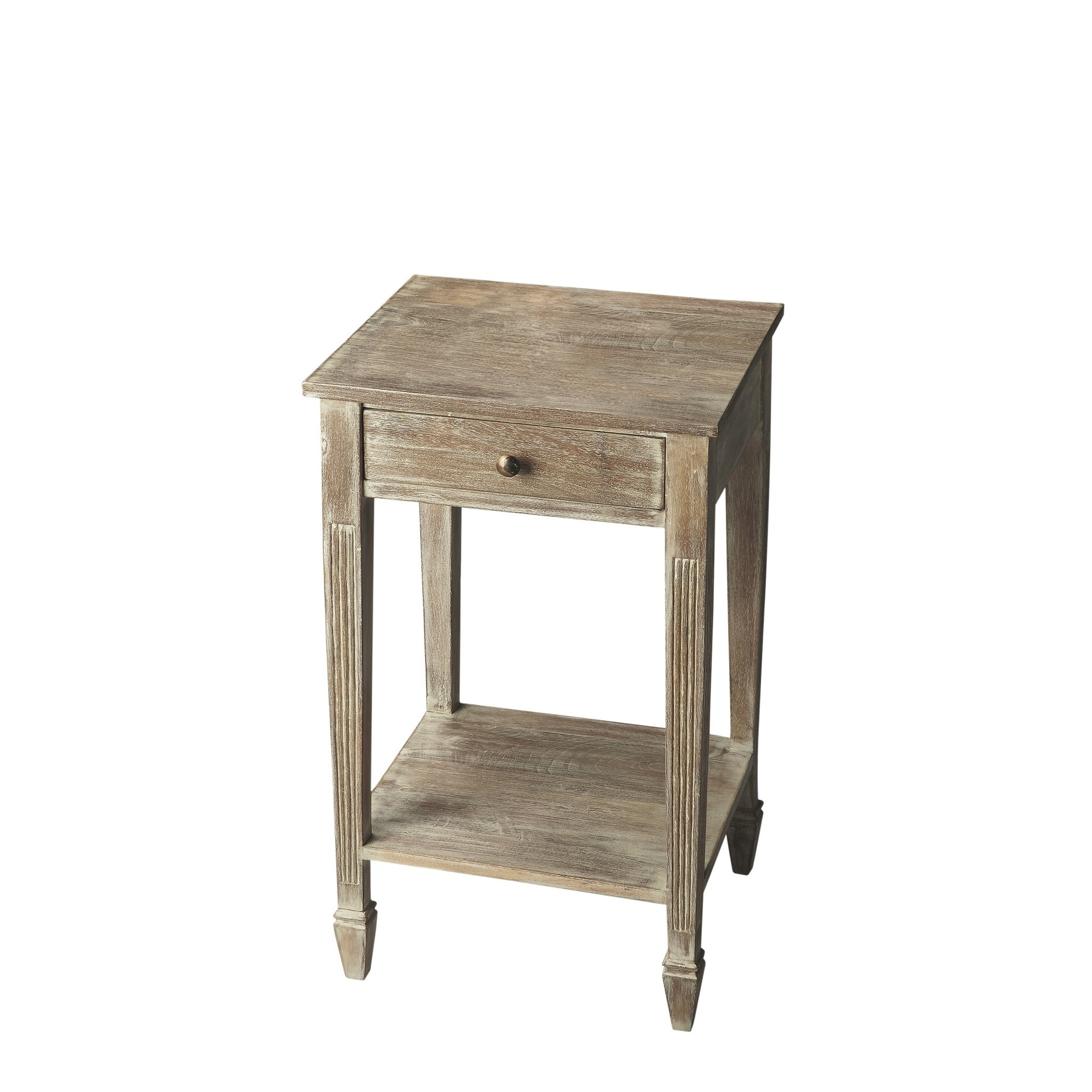 Handmade Butler Artifacts End Table (India) (Gray), Beige