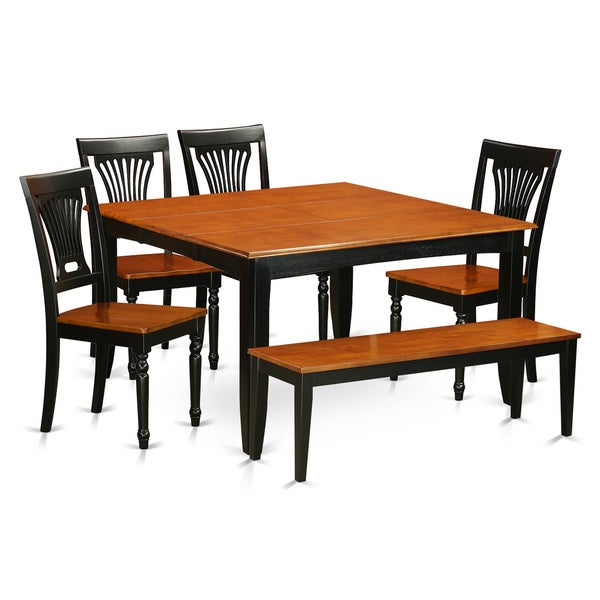 Contemporary Black/Cherry Rubberwood 6 Piece Dining Room Set With Dining  Bench