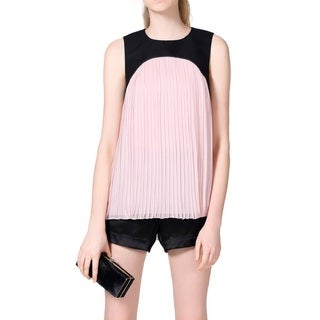Tibi Pink Pleated Sleeveless Blouse