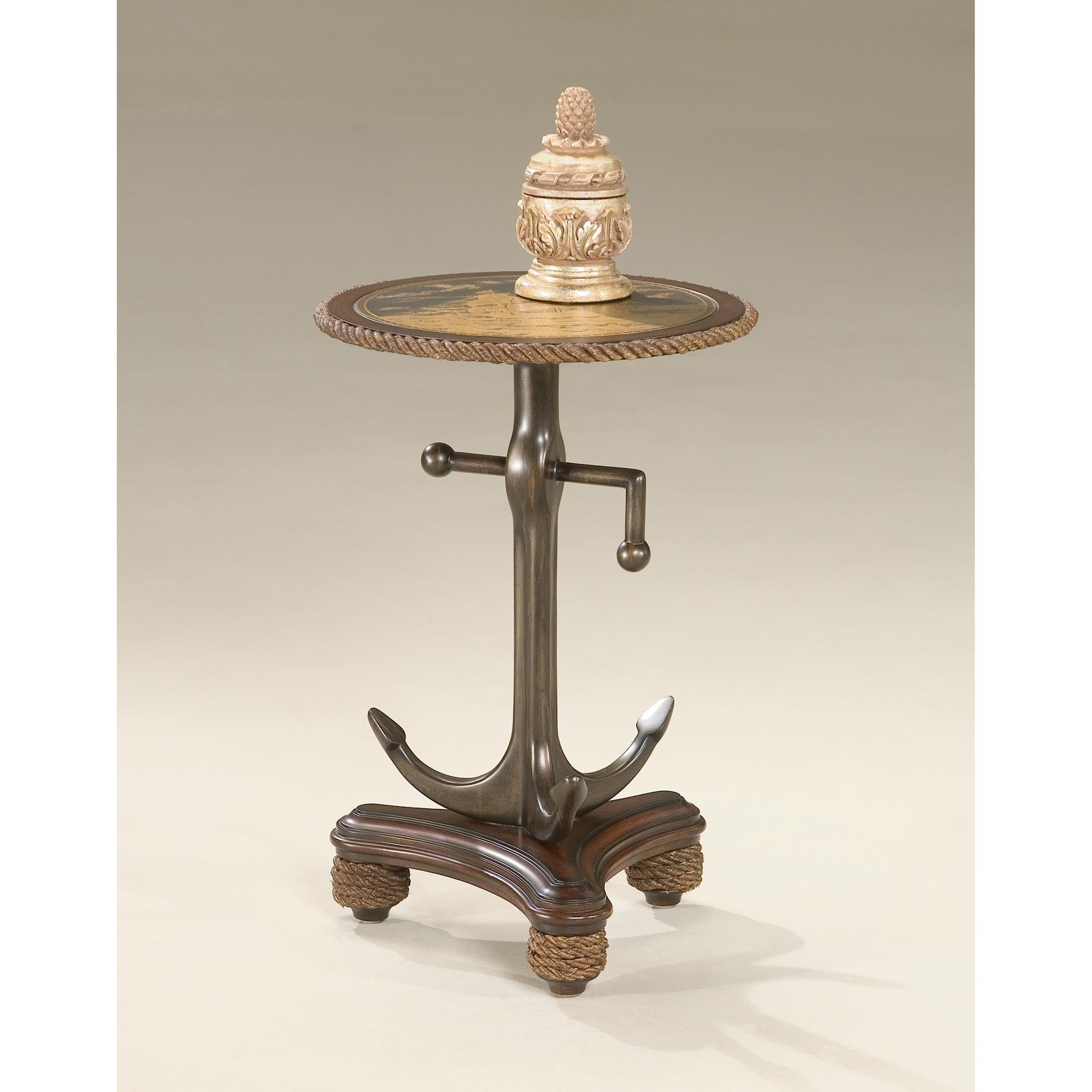 Butler Etched Brass Anchor Table (Multi-Color), Brown