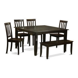 Black-finished Wood 6-piece Dining Room Set With Dining Bench