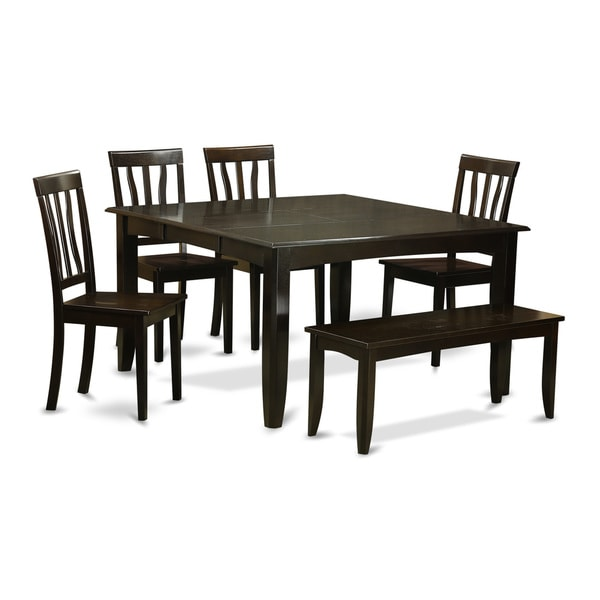 black finished wood 6 piece dining room set with dining bench free
