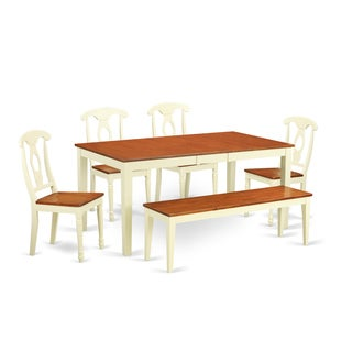 Cream/ Cherry Wood 6-piece Dining Room Table Set