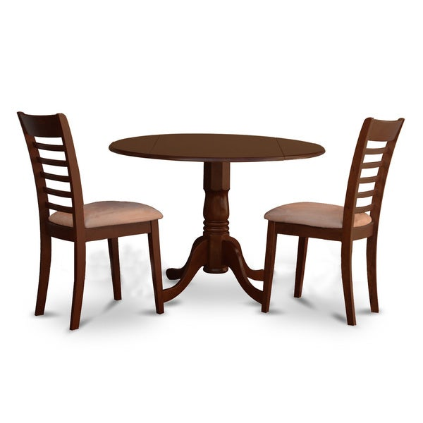 3 Piece Small Kitchen Table And Chairs Set Round Table And: Shop Brown Rubberwood 3-piece Small Kitchen Table And