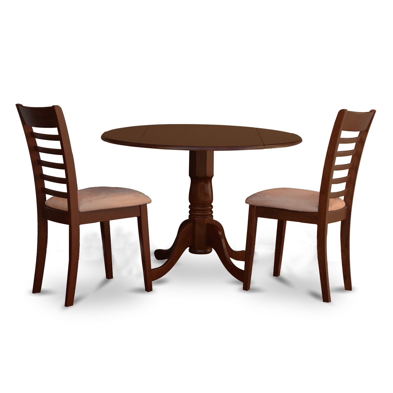 Brown Rubberwood 3-piece Small Kitchen Table and Chairs S...