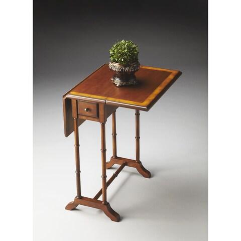 Butler Transitional Rectangular Olive Ash Burl Drop Leaf Table-Medium Brown