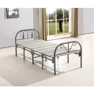B8077 Grey Metal Frame and Wood 35.4-inch x 33-inch x 75-inch Butterfly Folding Guest Bed
