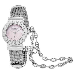 Charriol Women's 028CC.540.462 'St Tropez' Pink Mother of Pearl Dial Two Tone Stainless Steel Swiss Quartz Watch