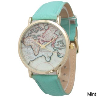 Olivia Pratt Women's Leather Travelers Watch (Option: Green)