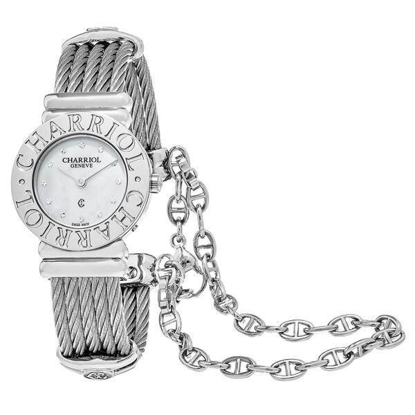 Charriol Women's 'St Tropez' Mother of Pearl Diamond Dial Stainless Steel Swiss Quartz Watch