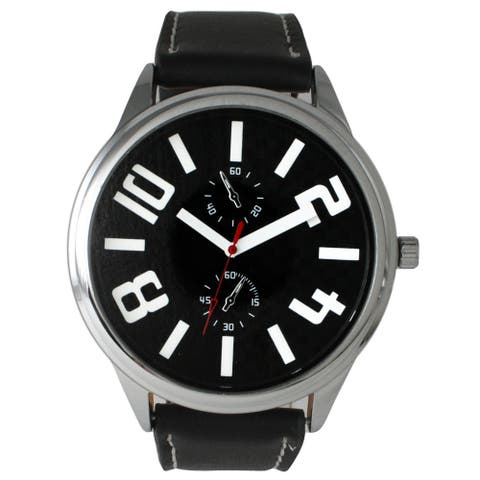Olivia Pratt Men's Leather 2-dial Watch