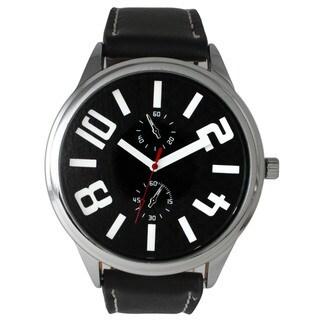 Olivia Pratt Men's Leather 2-dial Watch