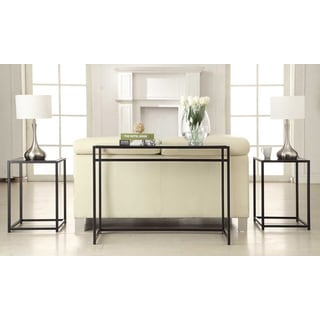 Convenience Concepts Designs2Go Black Glass, 3-piece Console Set