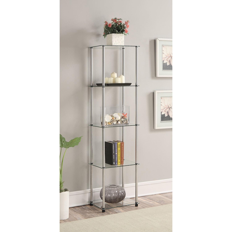 Freestanding Tower Bookshelves Storage Stainless Steel Frame Glass 5 ...