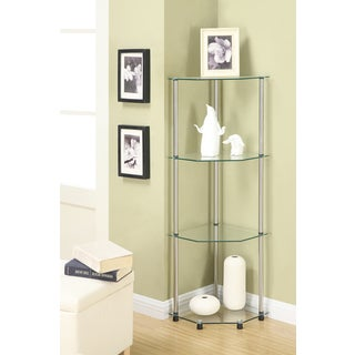 Convenience Concepts Designs2Go Classic Glass 4-tier Corner Shelf