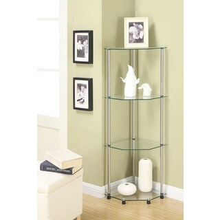 Porch & Den Bywater Chartres Classic Glass 4-tier Corner Shelf