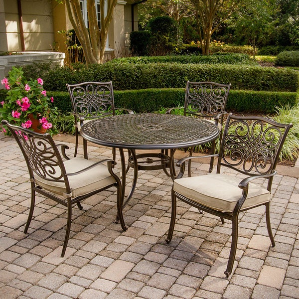 Superbe Hanover TRADITIONS5PC Traditions 5 Piece Outdoor Dining Set With 4 Aluminum  Cast Chairs And 48