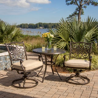 Hanover TRADITIONS3PCSW Traditions Tan Aluminum 3-piece Outdoor Bistro Dining Set with 2 Swivel Rockers and 32-inch Round Table