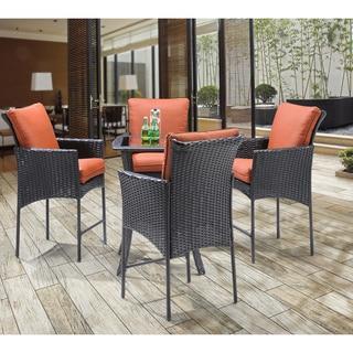 Hanover STRALHBR5PCSQ-RST Strathmere Allure Brown Steel Five-piece Outdoor High Dining Set