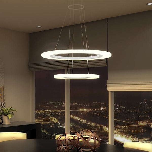 VONN Lighting VMC32300AL Tania Duo 24-inch LED Modern Two-Tier Circular Chandelier in SIlver