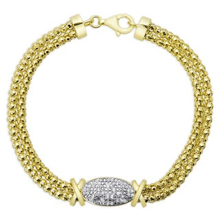 Finesque Gold Over Silver or Sterling Silver 1/4ct TDW Diamond 'XO' Bracelet
