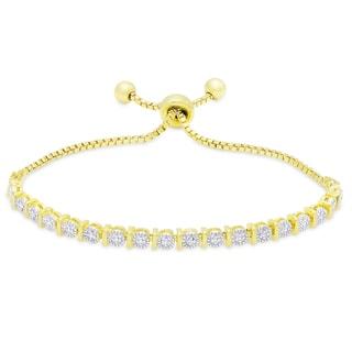 Finesque Gold or Silver Overlay Diamond Accent Adjustable Slider Bracelet (I-J, I2-I3)