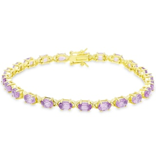 Dolce Giavonna Gold Over Sterling Silver Oval Cut Amethyst XO Link Bracelet