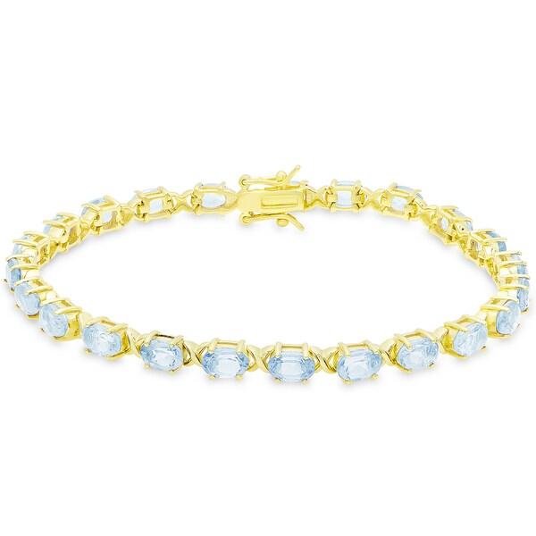 Dolce Giavonna Gold Over Sterling Silver Oval Cut Blue Topaz XO Link Bracelet