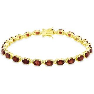 Dolce Giavonna Gold Over Sterling Silver Oval Cut Garnet XO Link Bracelet