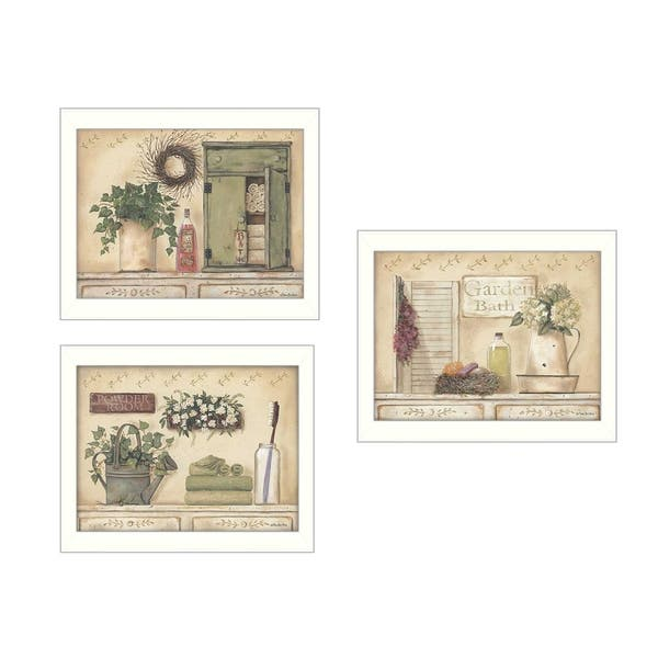 Garden Bath Collection By Pam Britton Printed Wall Art Ready To Hang Framed Poster White Frame Overstock 12064403