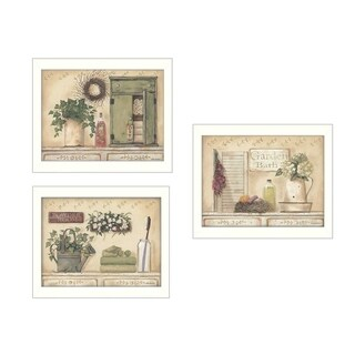 Pam Britton 'Garden Bath D' 3-piece Framed Art Print Collection