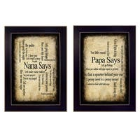 """Nana/Papa"" Collection By Susan Ball, Printed Wall Art, Ready To Hang Framed Poster, Black Frame"