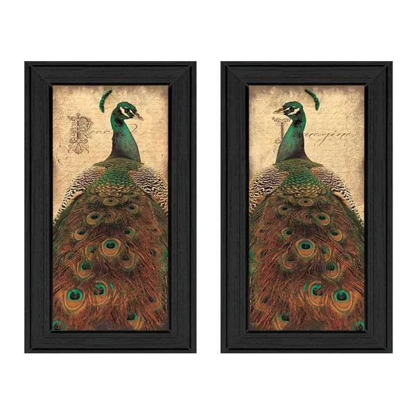 """Peacock"" Collection By John Jones, Printed Wall Art, Ready To Hang Framed Poster, Black Frame"
