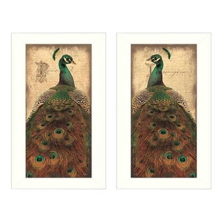 """Peacock"" Collection By John Jones, Printed Wall Art, Ready To Hang Framed Poster, White Frame"