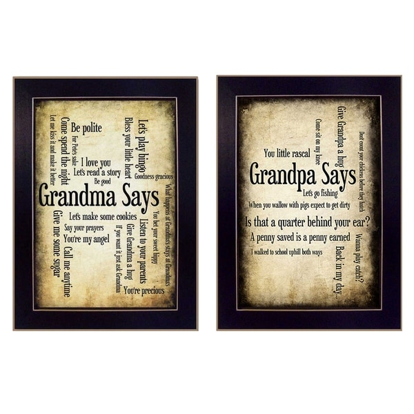 """Grandparents"" Collection By Susan Ball, Printed Wall Art, Ready To Hang Framed Poster, Black Frame"