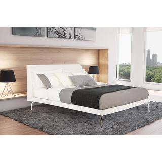 Avenue Greene Wilshire Queen Faux Leather and Chrome Bed