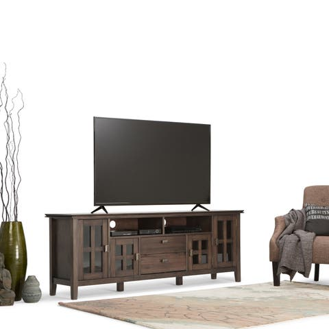 WYNDENHALL Stratford Solid Wood 72 inch Wide Contemporary TV Media Stand in Natural Aged Brown For TVs up to 80 inches