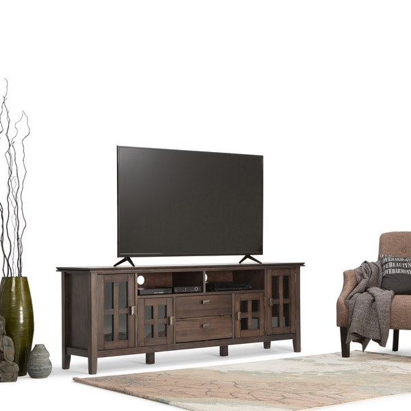Charming Wyndenhall Stratford Natural Aged Brown Solid Pine 72 Inch Tv